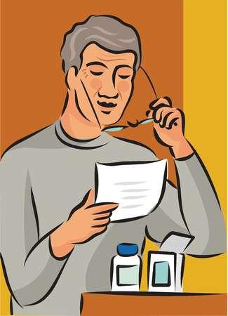 Elderly man reading his medication information fact sheet