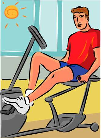 Man exercising on a recumbent bike to reduce strain on his back