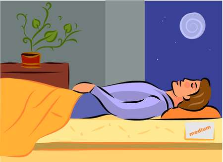 A man sleeping on a medium firm mattress at night, side view