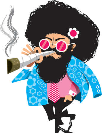 A hippy man smoking cigarette