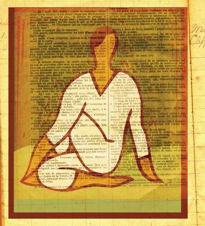 A woman in a yoga pose against a page from a book as background