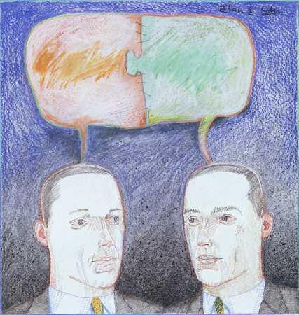 Men/ Empty Speech Bubble