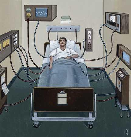 Hospital patient on monitors