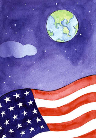 American Flag With Earth