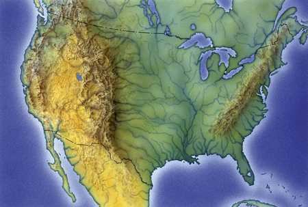 Stock Illustration Map Of United States - Labeled us map with mountain range and rivers
