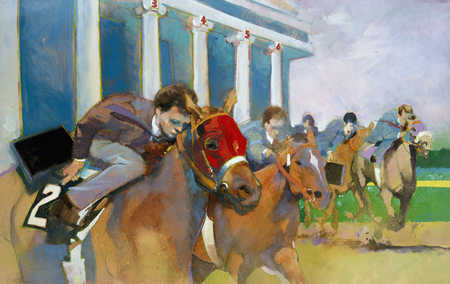 Businessmen in thoroughbred turf racing
