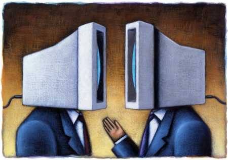 Stock Illustration - Computer-Heads Talking To Each Other