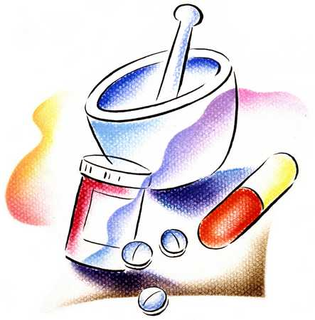 Mortar And Pestle With Prescription Pills