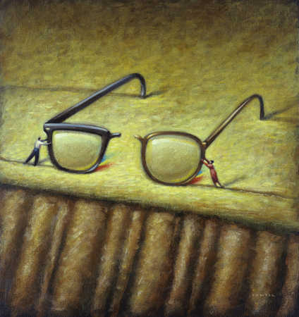 Man and woman joining broken spectacles
