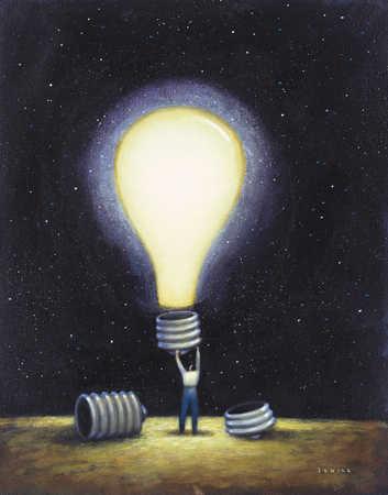Man with illuminated lightbulb, rear view