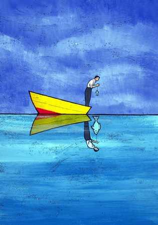 Fisherman Seeing Reflection