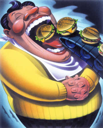Man Overeating