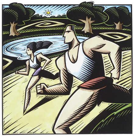 Man and woman jogging by lake