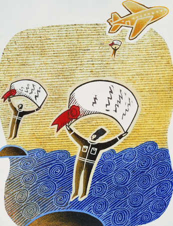 Three men flying with certificate, mid-air