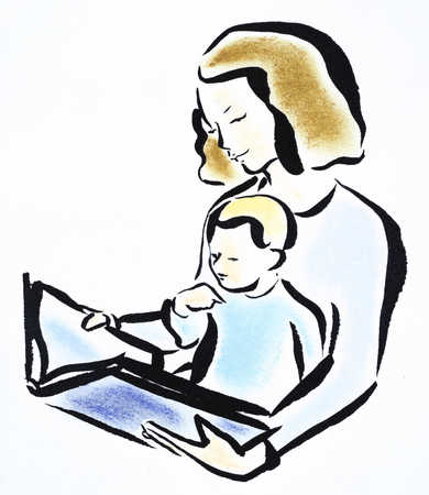 Mother and son reading book, close-up