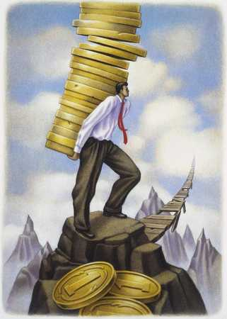 Man Carrying Coins On His Back