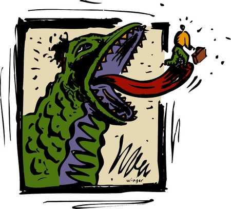 Man runs on monster tongue