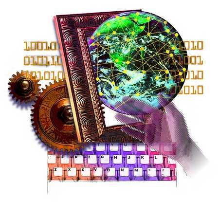 Binary code, keyboard, gears