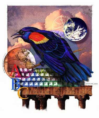 Bird on keyboard, globe, compass