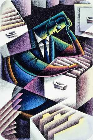 Cubist Illustration Of Executive