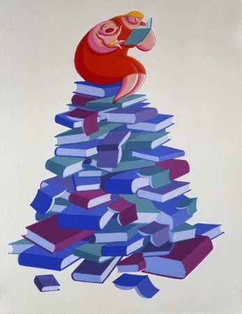 Mother On Pile Of Books