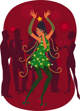 A woman in a Christmas tree dress dancing at a party