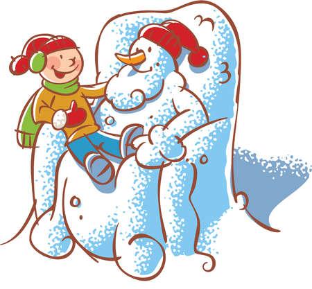 A boy sitting on the lap of a Santa Claus snowman