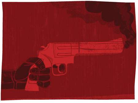 Illustration of a hand holding a smoking gun