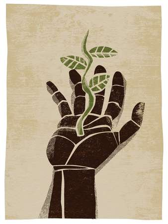 Illustration of a hand with a growing plant