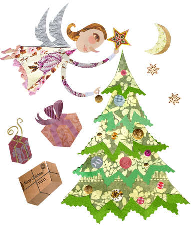 An angel placing a star on top of a Christmas tree, with presents on the side, and stars and moon behind