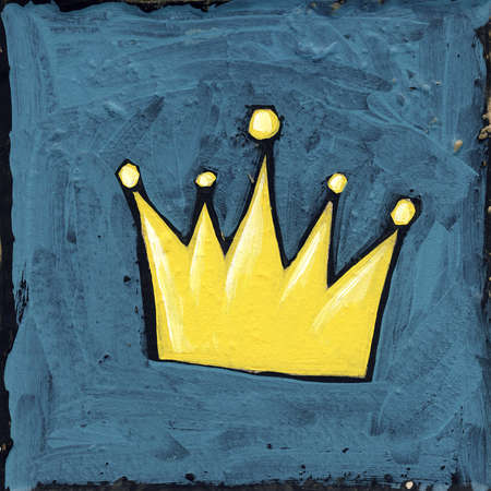 A golden crown on blue background