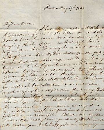 An old handwritten letter from Montreal in 1842