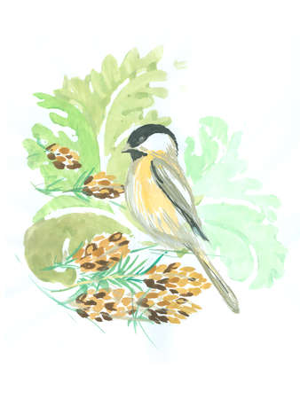 A winter chickadee bird with pine cones and leaves
