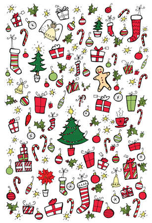 A mix background of gifts, stockings, Christmas trees, gingerbread men, decorations, and candy canes