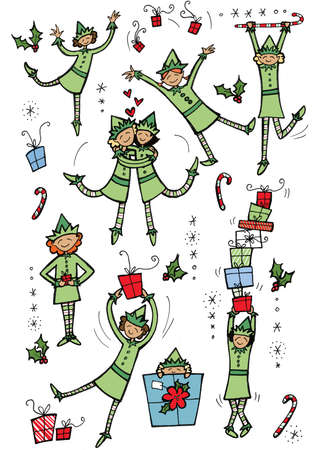 Dancing Christmas elves with gifts, holly, and candy canes