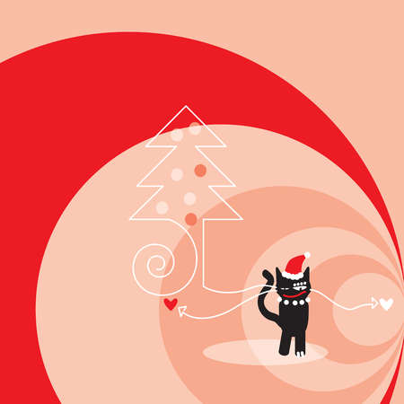 A black cat wearing a Santa hat, a Christmas tree and red and pink swirls