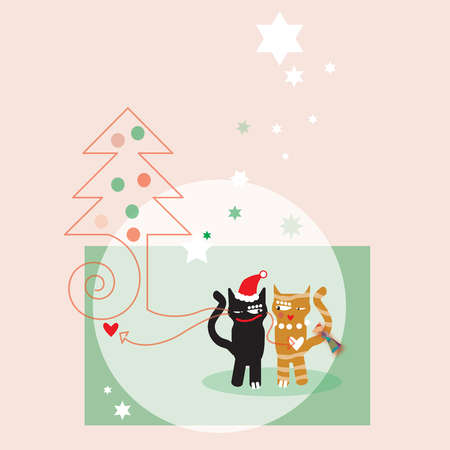 Two cats next to a Christmas tree and stars on a pink background