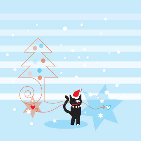 A black cat wearing a Santa hat next to a Christmas tree and stars