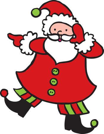 Illustration of Santa Claus dancing