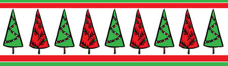 Stock Illustration - A row of red and green Christmas trees on a ...