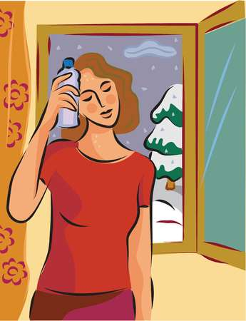 A hot and sweaty woman holding a cold bottle to her head in front of a window with snow outside