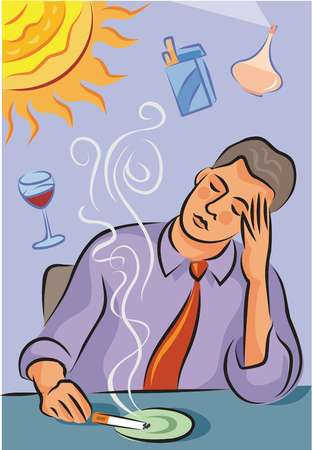 Illustration about migraine triggers showing a man with headache, a bright sun, cigarette smoke, red wine and perfume