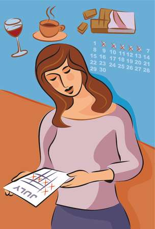 Illustration about migraine triggers with a woman looking at her monthly cycle, red wine, coffee and chocolate