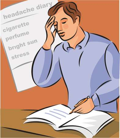 Illustration of a man holding his head and noting down migraine triggers in his headache diary
