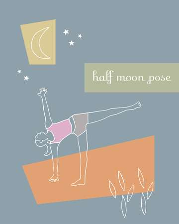 Drawing of a woman doing yoga in half moon pose