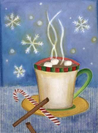 A steaming hot cup of cocoa with marshmallows, cinnamon sticks and candycane, against a snowflake background