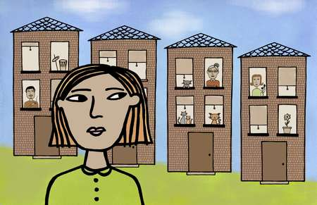 Illustration of a woman in front of a row of houses with neighbors looking through windows