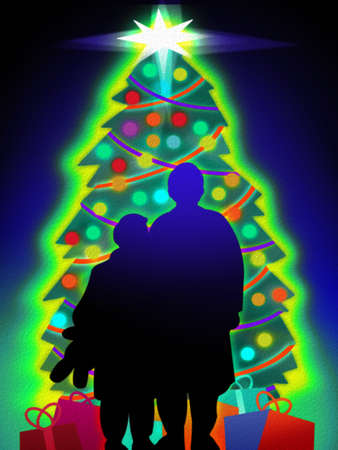 Silhouette of two children standing in front of a glowing Christmas tree and gifts