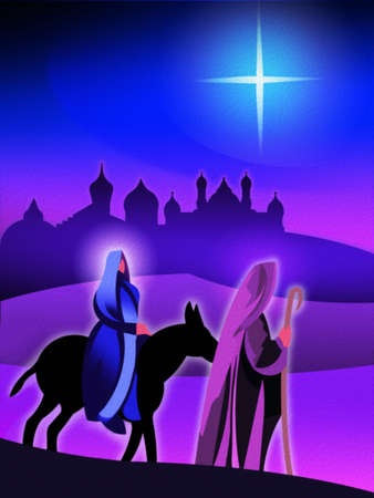 Joseph and Mary traveling by donkey with the Star of Bethlehem and Jerusalem in the background
