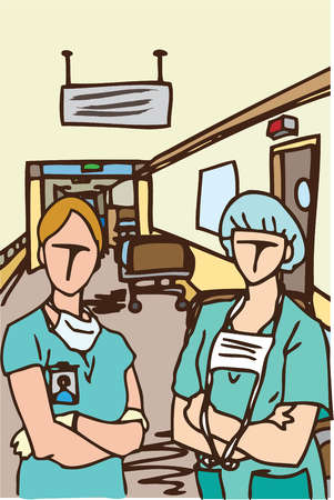 A surgeon and medical assistant in a hospital corridor